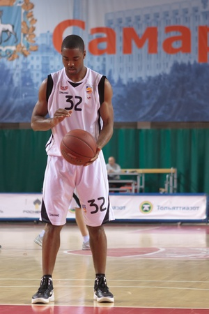 pbl: SAMARA, RUSSIA - MAY 03: Aaron Marquez Miles of BC Krasnye Krylia gets ready to throw from the free throw line in a game against BC Spartak on May 03, 2012 in Samara, Russia.
