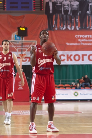 pbl: SAMARA, RUSSIA - MAY 03: Patrick Beverley of BC Spartak gets ready to throw from the free throw line in a game against BC Krasnye Krylia on May 03, 2012 in Samara, Russia.