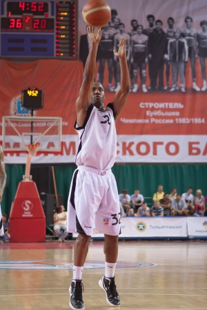 miles aaron marquez: SAMARA, RUSSIA - MAY 11: Aaron Marquez Miles of BC Krasnye Krylia throws from the free throw line in a game against BC Ural on May 11, 2012 in Samara, Russia.