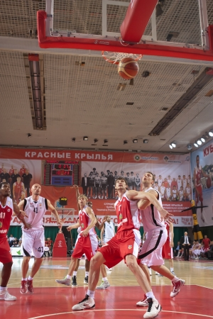 miles aaron marquez: SAMARA, RUSSIA - MAY 12: Aaron Marquez Miles of BC Krasnye Krylia scored a goal from the free throw line in a game against BC Spartak-Primorje on May 12, 2012 in Samara, Russia.