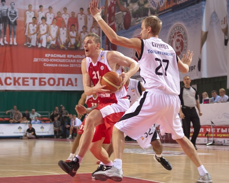 nesterov: SAMARA, RUSSIA - MAY 12: Nesterov Konstantin of BC Spartak-Primorje, with ball, is on the attack during a BC Krasnye Krylia game on May 12, 2012 in Samara, Russia. Editorial