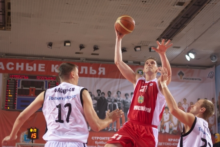 nesterov: SAMARA, RUSSIA - MAY 12: Nesterov Konstantin of BC Spartak-Primorje with ball attacks a basket during a BC Krasnye Krylia game on May 12, 2012 in Samara, Russia. Editorial