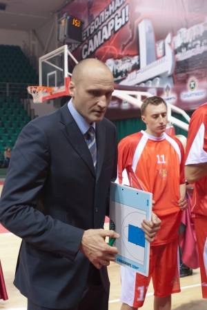mikhail: SAMARA, RUSSIA - OCTOBER 23: Time out. Coach of BC Sparta and K Mikhail Soloviev says the game plan against BC Krasnye Krylia on October 23, 2012 in Samara, Russia.