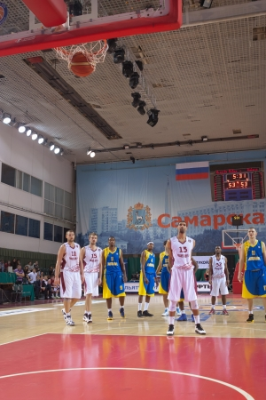 scored: SAMARA, RUSSIA - OCTOBER 22: Chester Simmons of BC Krasnye Krylia scored a goal from the free throw line in a game against BC Astana on October 22, 2012 in Samara, Russia.