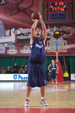 kyle: SAMARA, RUSSIA - NOVEMBER 03: Kyle Landry of BC Triumph throws from the free throw line in a game against BC Krasnye Krylia on November 03, 2012 in Samara, Russia.