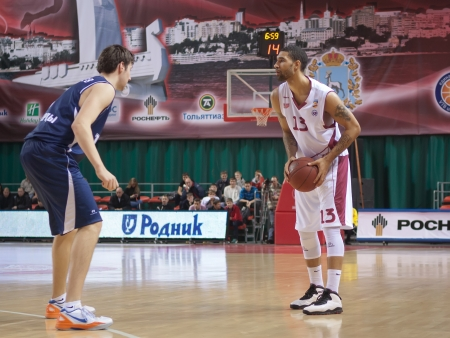 pbl: SAMARA, RUSSIA - NOVEMBER 03: Chester Simmons of BC Krasnye Krylia, with ball, is on the attack during a BC Triumph game on November 03, 2012 in Samara, Russia.