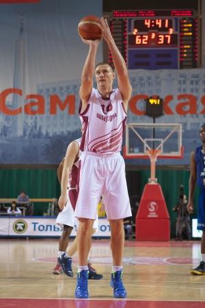 vasiliev: SAMARA, RUSSIA - DECEMBER 05: Yury Vasiliev of BC Krasnye Krylia throws from the free throw line in a game against BC CSU Asesoft Ploiesti on December 05, 2012 in Samara, Russia.
