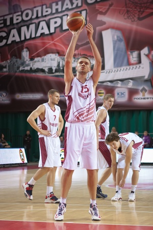 number 15: SAMARA, RUSSIA - DECEMBER 05: Nikita Balashov of BC Krasnye Krylia throws from the free throw line in a game against BC CSU Asesoft Ploiesti on December 05, 2012 in Samara, Russia.