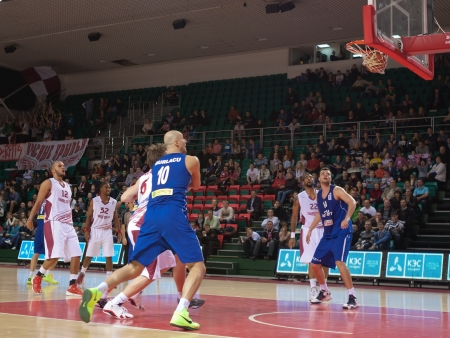 SAMARA, RUSSIA - DECEMBER 05: Andre Smith of BC Krasnye Krylia scored a goal from the free throw line in a game against BC CSU Asesoft Ploiesti on December 05, 2012 in Samara, Russia.