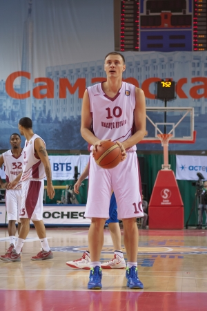 vasiliev: SAMARA, RUSSIA - DECEMBER 17: Yury Vasiliev of BC Krasnye Krylia gets ready to throw from the free throw line in a game against BC Khimki on December 17, 2012 in Samara, Russia.