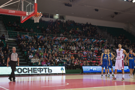 scored: SAMARA, RUSSIA - DECEMBER 17: Chester Simmons of BC Krasnye Krylia scored a goal from the free throw line in a game against BC Khimki on December 17, 2012 in Samara, Russia.