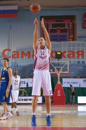 vasiliev: SAMARA, RUSSIA - DECEMBER 17: Yury Vasiliev of BC Krasnye Krylia throws from the free throw line in a game against BC Khimki on December 17, 2012 in Samara, Russia.