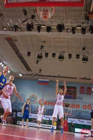 vasiliev: SAMARA, RUSSIA - DECEMBER 17: Yury Vasiliev of BC Krasnye Krylia scored a goal from the free throw line in a game against BC Khimki on December 17, 2012 in Samara, Russia.