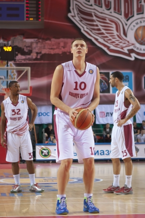 vasiliev: SAMARA, RUSSIA - JANUARY 12: Yury Vasiliev of BC Krasnye Krylia gets ready to throw from the free throw line in a game against BC Lietuvos Rytas on January 12, 2013 in Samara, Russia.