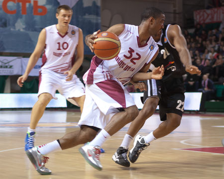 vasiliev: SAMARA, RUSSIA - FEBRUARY 03: Aaron Miles of BC Krasnye Krylia, with ball, is on the attack during a BC PGE Turow game on February 03, 2013 in Samara, Russia.