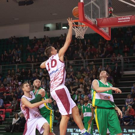 vasiliev: SAMARA, RUSSIA - FEBRUARY 19: Yury Vasiliev of BC Krasnye Krylia throws a ball in a basket during a BC Khimik game on February 19, 2013 in Samara, Russia. Editorial