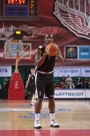 abbott: SAMARA, RUSSIA - MARCH 09: Tyshawn Abbott of BC Kalev gets ready to throw from the free throw line in a game against BC Krasnye Krylia on March 09, 2013 in Samara, Russia.