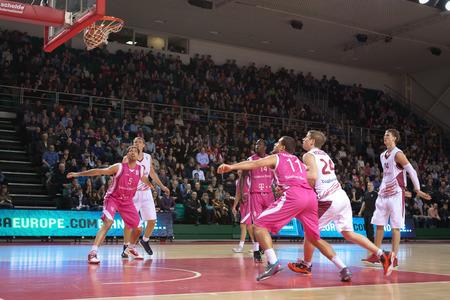 vasiliev: SAMARA, RUSSIA - MARCH 12: Anton Pushkov of BC Krasnye Krylia scored a goal from the free throw line in a BC Telekom Baskets Bonn game on March 12, 2013 in Samara, Russia.