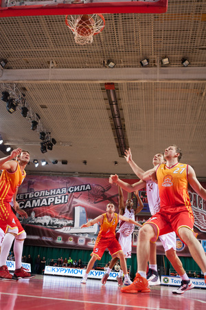 scored: SAMARA, RUSSIA - MARCH 22: Aaron Miles of BC Krasnye Krylia scored a goal from the free throw line in a game against BC Ryazan on March 22, 2013 in Samara, Russia.