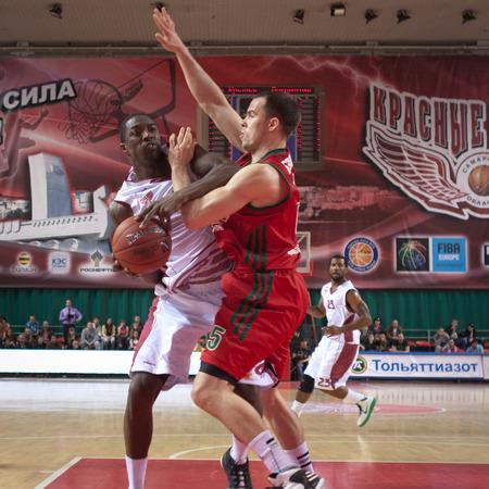 omar: SAMARA, RUSSIA - APRIL 06: Omar Thomas of BC Krasnye Krylia, with ball, is on the attack during a BC Lokomotiv-Kuban game on April 06, 2013 in Samara, Russia. Editorial