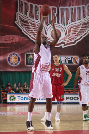 SAMARA, RUSSIA - APRIL 06: Omar Thomas of BC Krasnye Krylia throws from the free throw line in a game against BC Lokomotiv-Kuban on April 06, 2013 in Samara, Russia.