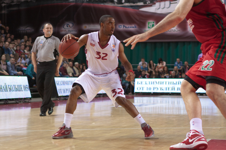 pbl: SAMARA, RUSSIA - APRIL 06: Aaron Miles of BC Krasnye Krylia, with ball, is on the attack during a BC Lokomotiv-Kuban game on April 06, 2013 in Samara, Russia.