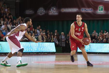 professional basketball league: SAMARA, RUSSIA - APRIL 06: Mantas Kalnietis of BC Lokomotiv-Kuban, with ball, is on the attack during a BC Krasnye Krylia game on April 06, 2013 in Samara, Russia.