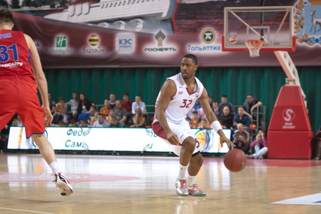 professional basketball league: SAMARA, RUSSIA - APRIL 21: Aaron Miles of BC Krasnye Krylia, with ball, is on the attack during a BC CSKA game on April 21, 2013 in Samara, Russia. Editorial