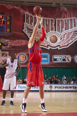 professional basketball league: SAMARA, RUSSIA - APRIL 21: Nenad Krstic of BC CSKA throws from the free throw line in a game against BC Krasnye Krylia on April 21, 2013 in Samara, Russia.