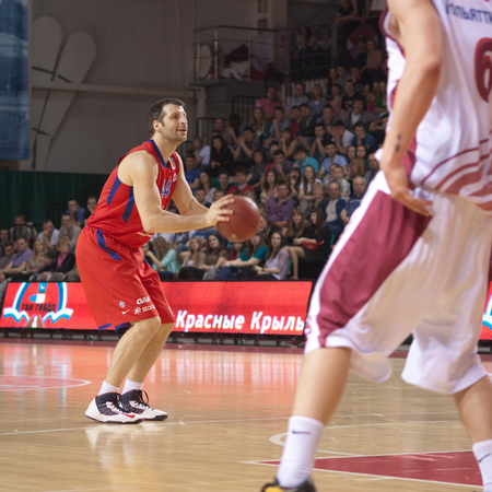 pbl: SAMARA, RUSSIA - APRIL 21: Theodoros Papaloukas of BC CSKA, with ball, is on the attack during a BC Krasnye Krylia game on April 21, 2013 in Samara, Russia. Editorial