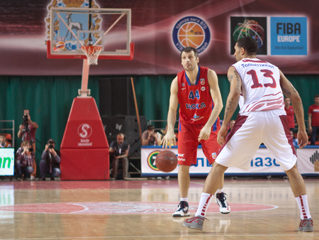 professional basketball league: SAMARA, RUSSIA - APRIL 21: Theodoros Papaloukas of BC CSKA, with ball, is on the attack during a BC Krasnye Krylia game on April 21, 2013 in Samara, Russia. Editorial
