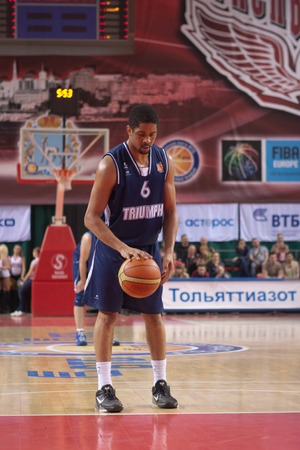 SAMARA, RUSSIA - MAY 03: Tywain McKee of BC Triumph gets ready to throw from the free throw line in a game against BC Krasnye Krylia on May 03, 2013 in Samara, Russia. Editorial