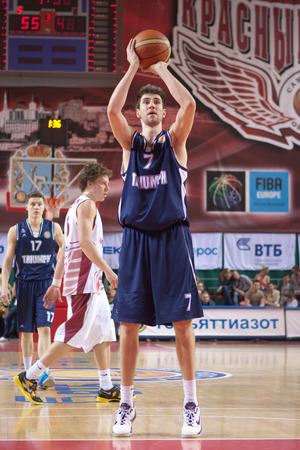 SAMARA, RUSSIA - MAY 03: Sergey Karasev of BC Triumph throws from the free throw line in a game against BC Krasnye Krylia on May 03, 2013 in Samara, Russia. Editorial