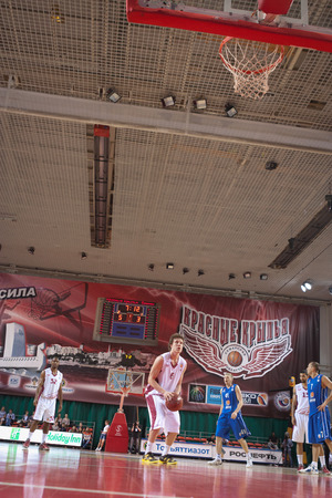 pbl: SAMARA, RUSSIA - MAY 11: Dmitry Kulagin of BC Krasnye Krylia gets ready to throw from the free throw line in a game against BC Enisey on May 11, 2013 in Samara, Russia.