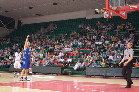 pbl: SAMARA, RUSSIA - MAY 11: Petr Gubanov of BC Enisey scored a goal from the free throw line in a BC Krasnye Krylia game on May 11, 2013 in Samara, Russia.