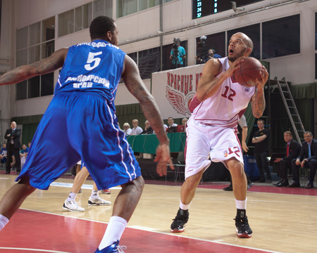 pbl: SAMARA, RUSSIA - MAY 11: Andre Smith of BC Krasnye Krylia, with ball, is on the attack during a BC Enisey game on May 11, 2013 in Samara, Russia. Editorial