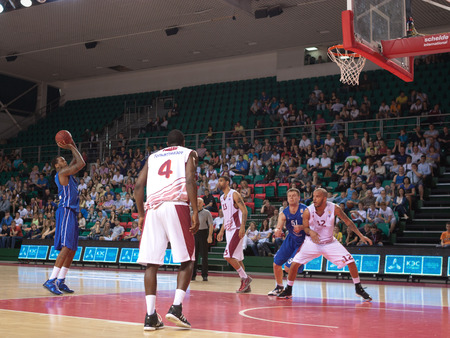 pbl: SAMARA, RUSSIA - MAY 11: Jerry Jefferson of BC Enisey throws from the free throw line in a game against BC Krasnye Krylia on May 11, 2013 in Samara, Russia.