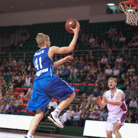 pbl: SAMARA, RUSSIA - MAY 11: Viacheslav Zaitcev of BC Enisey, with ball, is on the attack during a BC Krasnye Krylia game on May 11, 2013 in Samara, Russia. Editorial