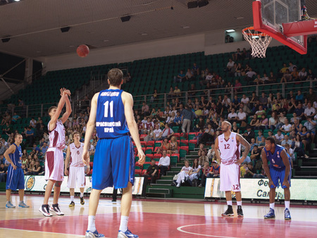 pbl: SAMARA, RUSSIA - MAY 11: Anton Pushkov of BC Krasnye Krylia throws from the free throw line in a game against BC Enisey on May 11, 2013 in Samara, Russia. Editorial