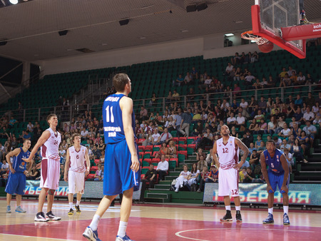 pbl: SAMARA, RUSSIA - MAY 11: Anton Pushkov of BC Krasnye Krylia scored a goal from the free throw line in a BC Enisey game on May 11, 2013 in Samara, Russia.