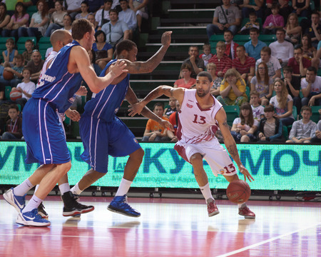 pbl: SAMARA, RUSSIA - MAY 11: Chester Simmons of BC Krasnye Krylia, with ball, is on the attack during a BC Enisey game on May 11, 2013 in Samara, Russia. Editorial