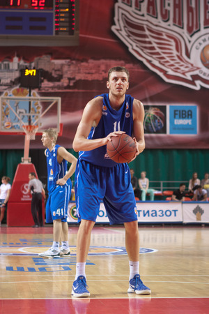 pbl: SAMARA, RUSSIA - MAY 11: Elmedin Kikanovic of BC Enisey gets ready to throw from the free throw line in a game against BC Krasnye Krylia on May 11, 2013 in Samara, Russia.