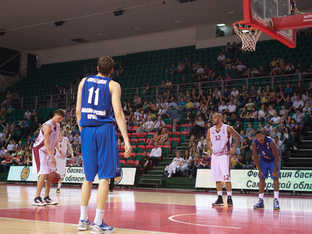 pbl: SAMARA, RUSSIA - MAY 11: Anton Pushkov of BC Krasnye Krylia gets ready to throw from the free throw line in a game against BC Enisey on May 11, 2013 in Samara, Russia.