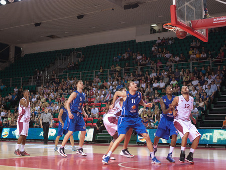 pbl: SAMARA, RUSSIA - MAY 11: Aaron Miles of BC Krasnye Krylia scored a goal from the free throw line in a BC Enisey game on May 11, 2013 in Samara, Russia.