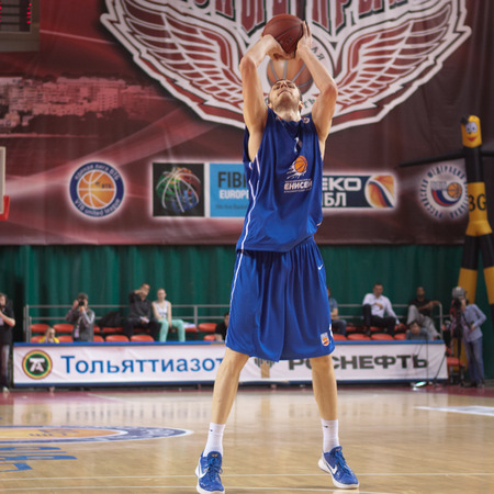 pbl: SAMARA, RUSSIA - MAY 11: Elmedin Kikanovic of BC Enisey makes 2-point shot in a game against BC Krasnye Krylia on May 11, 2013 in Samara, Russia.