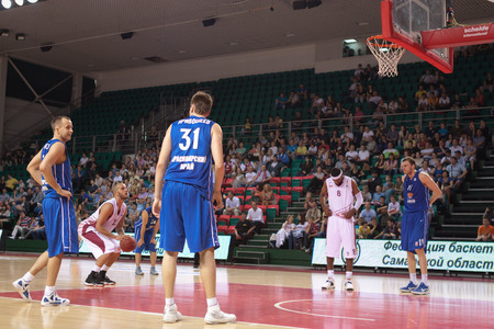 teammate: SAMARA, RUSSIA - MAY 11: Andre Smith of BC Krasnye Krylia gets ready to throw from the free throw line in a BC Enisey game on May 11, 2013 in Samara, Russia.