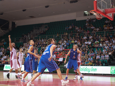 pbl: SAMARA, RUSSIA - MAY 11: Andre Smith of BC Krasnye Krylia scored a goal from the free throw line in a BC Enisey game on May 11, 2013 in Samara, Russia.