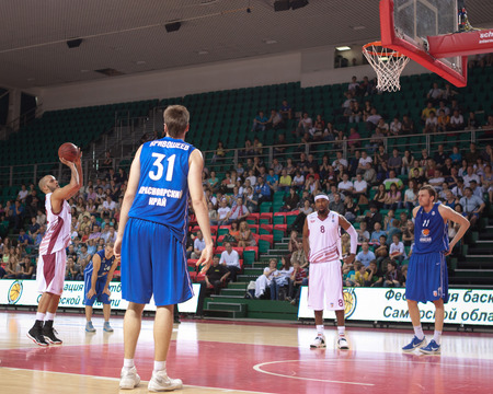 SAMARA, RUSSIA - MAY 11: Andre Smith of BC Krasnye Krylia throws from the free throw line in a BC Enisey game on May 11, 2013 in Samara, Russia.