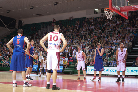 vasiliev: SAMARA, RUSSIA - MAY 19: Alexander Kaun of BC CSKA gets ready to throw from the free throw line in a game against BC Krasnye Krylia on May 19, 2013 in Samara, Russia.