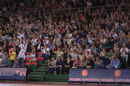 international basketball: SAMARA, RUSSIA - MAY 19: Fans and spectators enjoyed on tribunes at the game between BC Krasnye Krylia and BC CSKA on May 19, 2013 in Samara, Russia. Editorial